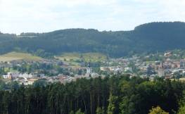 Pohled na centrum Cáhlova od jihovýchodu